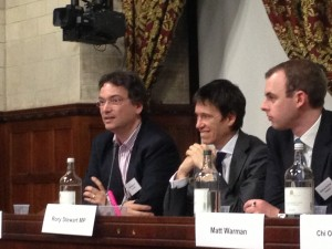 L to R: Matthew Hare, Rory Stewart MP, Matt Warman